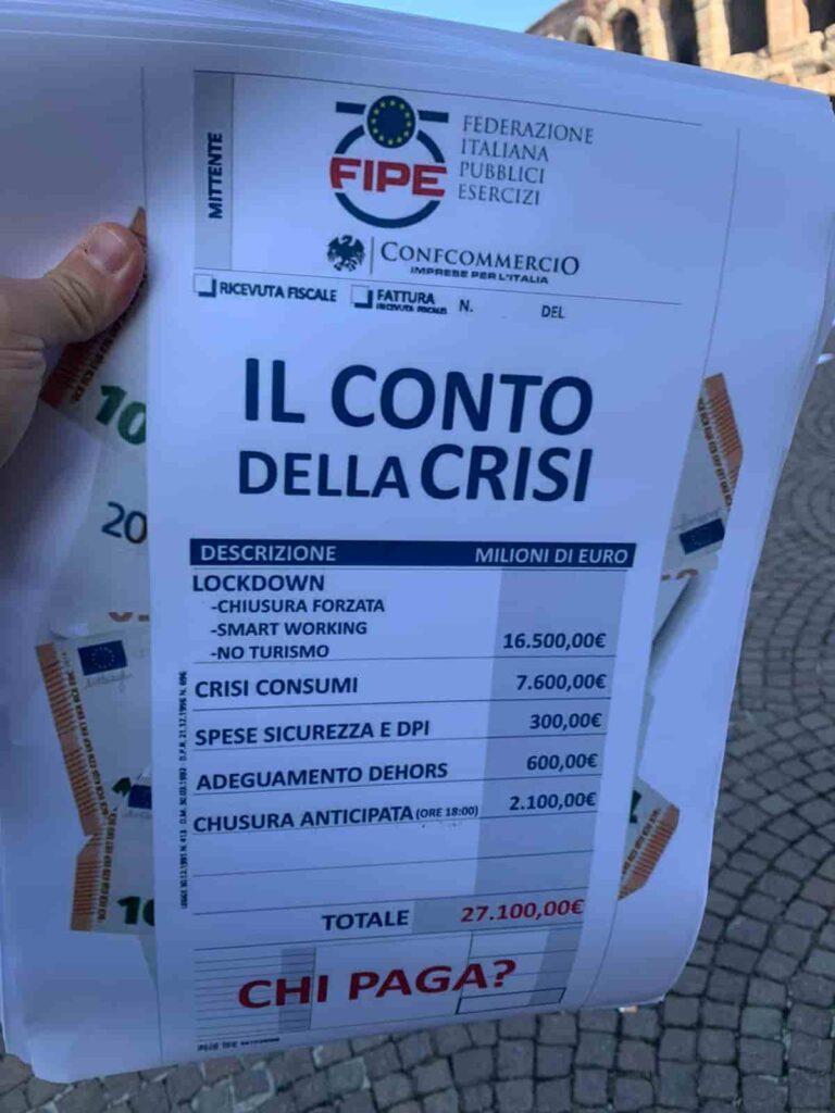 Ristorazione e Bar - Coronavirus Verona - protesta ristoranti, bar, pizzerie, pubblici esercizi contro misure governo Dpcm - articolo Maurizio Corte - Heraldo.it