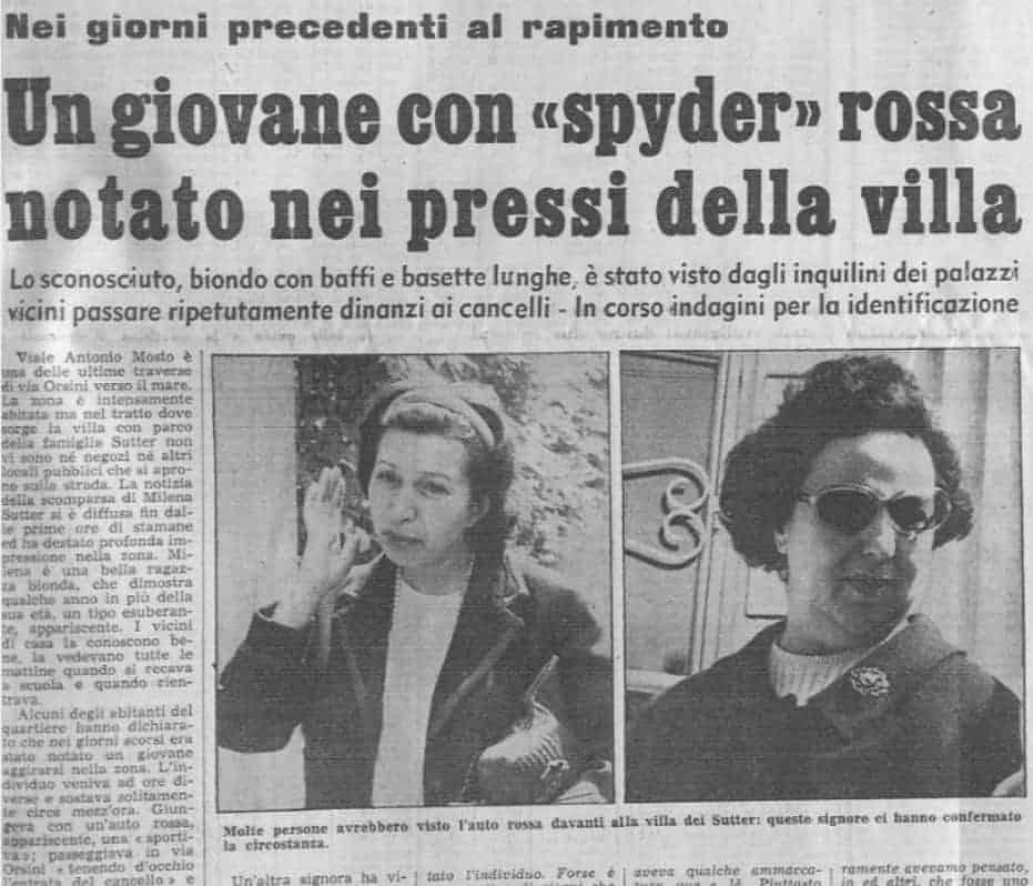 Lorenzo Bozano - sequestro Milena Sutter - magazine Biondino della Spider Rossa - ProsMedia - Agenzia Corte&Media